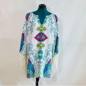 Boston Proper placed paisley dress XS